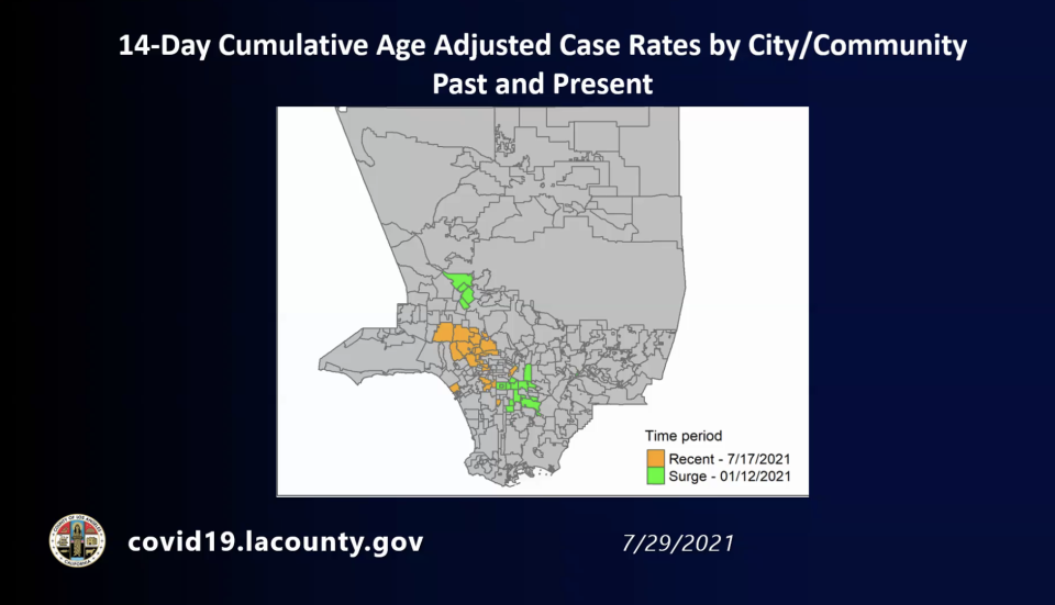 Map of surging case rates in Los Angeles. Green areas are from winter surge. Orange are the current suge. - Credit: LACDPH