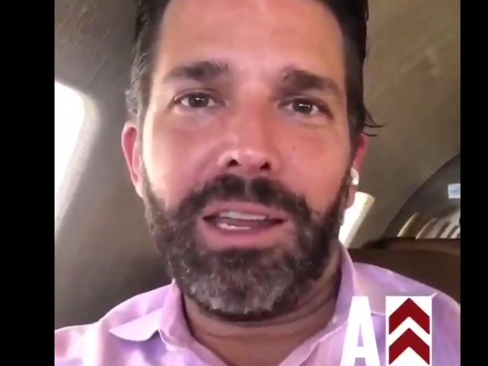 "<p>Donald Trump Jr encourages supporters to ""welcome"" Democratic campaign bus and vice presidential nominee, Kamala Harris</p> (@KamVTV / Twitter)"
