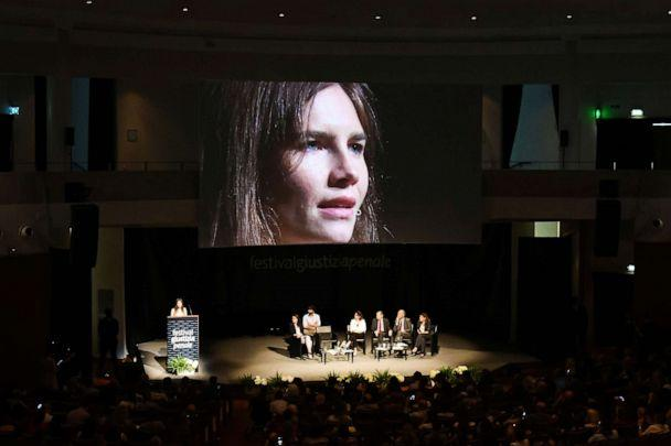 PHOTO: Amanda Knox addresses a panel discussion titled 'Trial by Media' during the Criminal Justice Festival at the Law University of Modena, northern Italy, June 15, 2019. (Vincenzo Pinto/AFP/Getty Images)