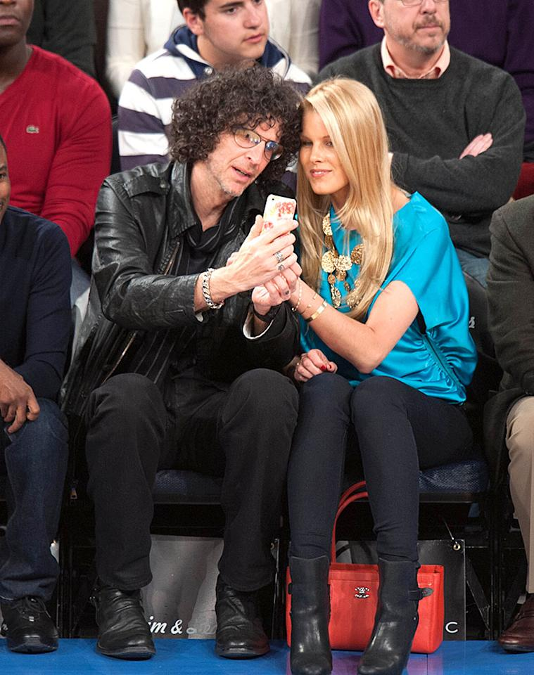 Howard Stern and wife Beth Ostrosky Stern courtside at the NY Knicks game with Chris Rock and other celebrities. Pictured: Howard Stern and Beth Ostrosky Stern Ref: SPL490887  270313  Picture by: Anthony J. Causi / Splash News   Splash News and Pictures Los Angeles:310-821-2666 New York:212-619-2666 London:870-934-2666 photodesk@splashnews.com