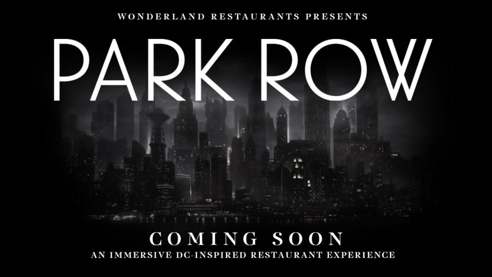 The 'Park Row' dining experience is due to bring Gotham City to London. (Credit: Wonderland Restaurants/DC Comics)