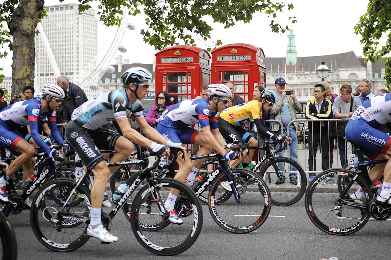 Team Sky's Sir Bradley Wiggins on the Embankment during stage eight of the 2013 Tour of Britain in London.