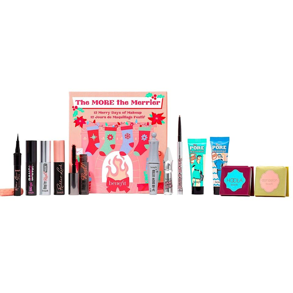 """<p><strong>Benefit Cosmetics</strong></p><p>sephora.com</p><p><strong>$65.00</strong></p><p><a href=""""https://go.redirectingat.com?id=74968X1596630&url=https%3A%2F%2Fwww.sephora.com%2Fproduct%2Fbenefit-cosmetics-the-more-merrier-makeup-holiday-advent-calendar-set-P477490&sref=https%3A%2F%2Fwww.townandcountrymag.com%2Fstyle%2Fbeauty-products%2Fnews%2Fg2919%2Fbeauty-advent-calendars%2F"""" rel=""""nofollow noopener"""" target=""""_blank"""" data-ylk=""""slk:Shop Now"""" class=""""link rapid-noclick-resp"""">Shop Now</a></p><p><strong>Best For: </strong>The beauty lover who has their no-makeup makeup look on lock. </p><p><strong>What's Inside: </strong>12 mini versions of Benefit's best-selling products, including their famous They're Real! mascara, skin-perfecting primers, bronzer, and brow gel.</p>"""