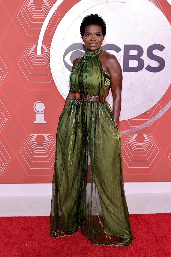 <p>LaChanze looks incredible in a green jumpsuit on the red carpet for the 2021 Tony Awards. </p>