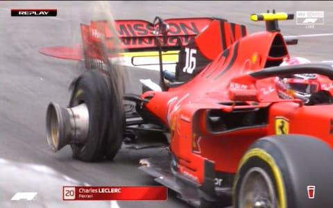 Charles Leclerc's tyre heavily damaged - Credit: SKY SPORTS F1