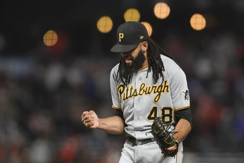 Pittsburgh Pirates pitcher Richard Rodriguez celebrates after striking out San Francisco Giants' Mike Yastrzemski for the final out as the Pirates defeated the Giants 6-4 in a baseball game in San Francisco, Friday, July 23, 2021. (AP Photo/Jeff Chiu)