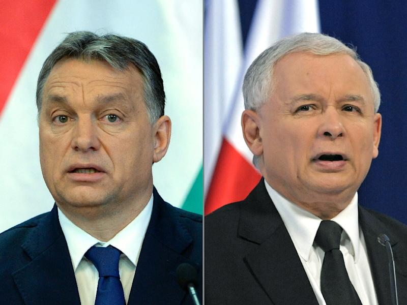 PiS leader Jaroslaw Kaczynski's (R) endorsement of the policies of Hungarian Prime Minister Viktor Orban (L) has alarmed critics at home and abroad