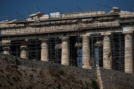 A view of the Parthenon temple and the walls of the Acropolis hill are pictured in Athens