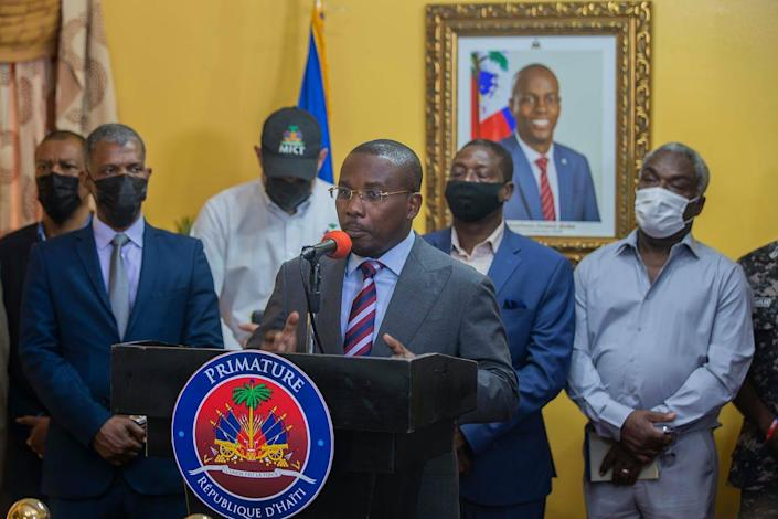 Haitian Prime Minister Claude Joseph speaks at a press conference at his residence.