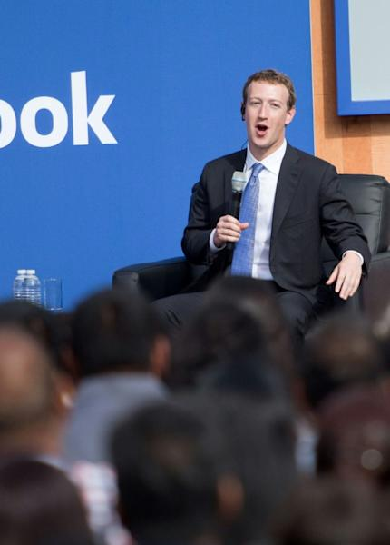 Facebook CEO Mark Zuckerberg speaks at a town hall meeting at Facebook headquarters in Menlo Park, California