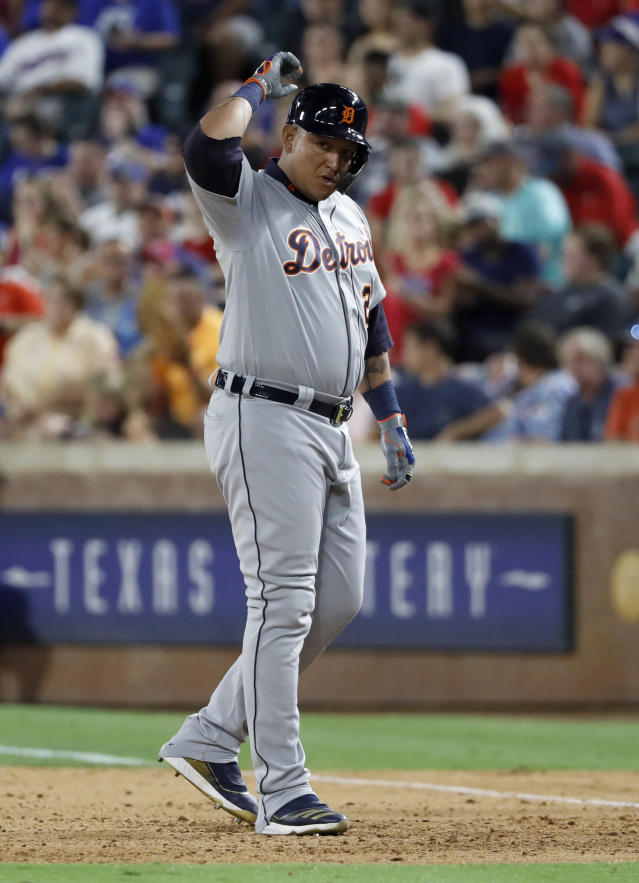 Detroit Tigers' Miguel Cabrera signals to the dugout after hitting an RBI single off Texas Rangers relief pitcher Jesse Chavez during the eighth inning of a baseball game in Arlington, Texas, Friday, Aug. 2, 2019. (AP Photo/Tony Gutierrez)
