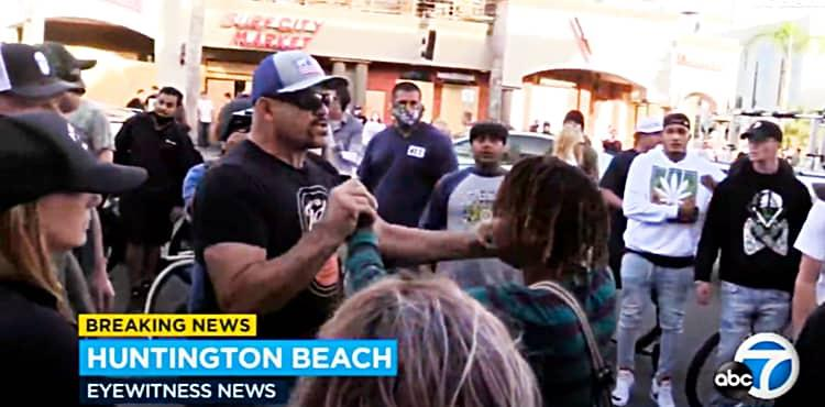 Chuck Liddell calming protesters in Huntington Beach