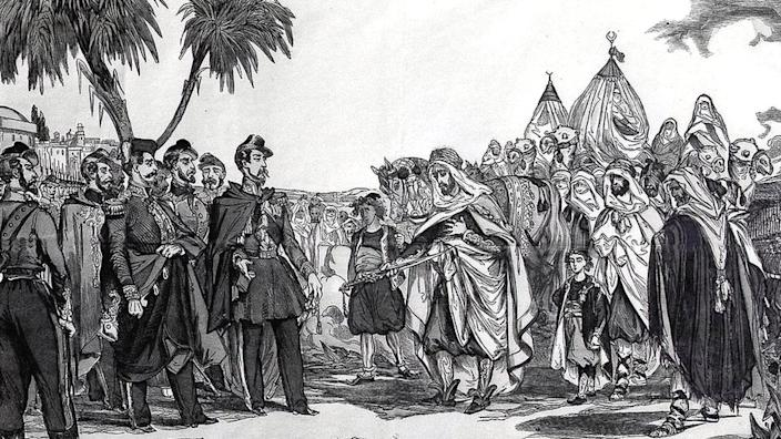 A art's drawing showing the surrender of Emir Abdelkader in 1847