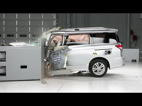 """<p>The van called Quest wasn't a very popular one. The fourth-generation minivan's best-selling year was in 2012 when Nissan sold 18,275, which wasn't even half as good as the previous Quest's best year in 2004 with over 46,000 sold. It was a tough time across the entire segment, but when you try to sell something with 40 percent less cargo space than competitors like the Honda Odyssey, well, it made picking something else easy. The 2011-to-2017 Quest was given a Poor rating in driver-side small overlap tests, as its dashboard, parking brake, and A-pillar crushed so far into the driver's cockpit, it trapped the dummy's left leg. The IIHS had to remove the driver's seat to retrieve their test dummy, and the survival space inside the van was severely compromised. It's not the only van with such bad ratings either. The 2008-to-2020 Dodge Grand Caravan<a href=""""https://www.iihs.org/ratings/vehicle/Dodge/grand-caravan-minivan/2014"""" rel=""""nofollow noopener"""" target=""""_blank"""" data-ylk=""""slk:received a Poor rating in the same test"""" class=""""link rapid-noclick-resp""""> received a Poor rating in the same test</a>, but this time time the parking brake pedal was """"deeply embedded in the dummy's lower leg skin."""" Uh, yikes. </p><p><a href=""""https://www.youtube.com/watch?v=5UU4N7sbXzo"""" rel=""""nofollow noopener"""" target=""""_blank"""" data-ylk=""""slk:See the original post on Youtube"""" class=""""link rapid-noclick-resp"""">See the original post on Youtube</a></p>"""