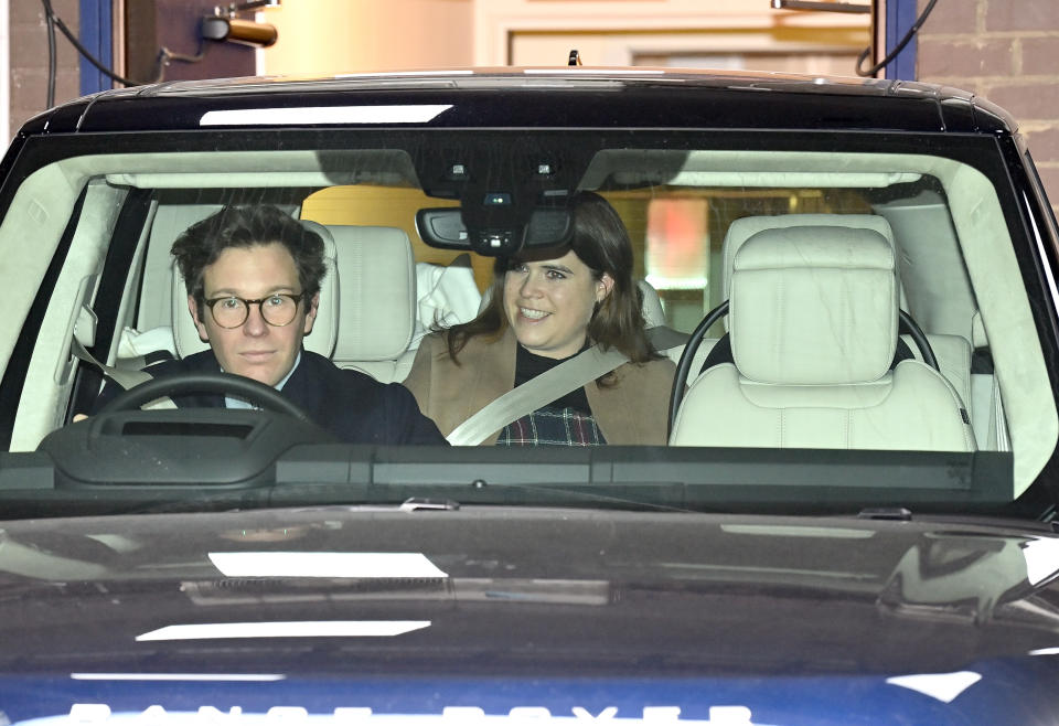 The Queen's granddaughter and her husband Jack Brooksbank were pictured leaving the hospital with their son on Friday. (Getty Images)