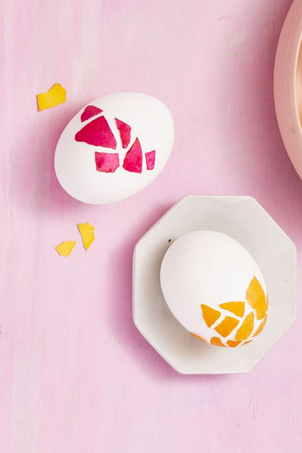 "<p>Use discarded shells, washi tape, or simple construction paper to create a mosaic Easter egg. </p><p><em>Get the tutorial at <a href=""https://www.goodhousekeeping.com/holidays/easter-ideas/g419/easter-egg-decorating-ideas/?slide=10"" rel=""nofollow noopener"" target=""_blank"" data-ylk=""slk:Good Housekeeping"" class=""link rapid-noclick-resp"">Good Housekeeping</a>. </em></p>"