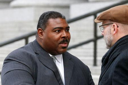 FILE PHOTO - Pastor Trevon Gross leaves the Manhattan Federal Courthouse in New York City, U.S., February 1, 2017.  REUTERS/Brendan McDermid/File Photo