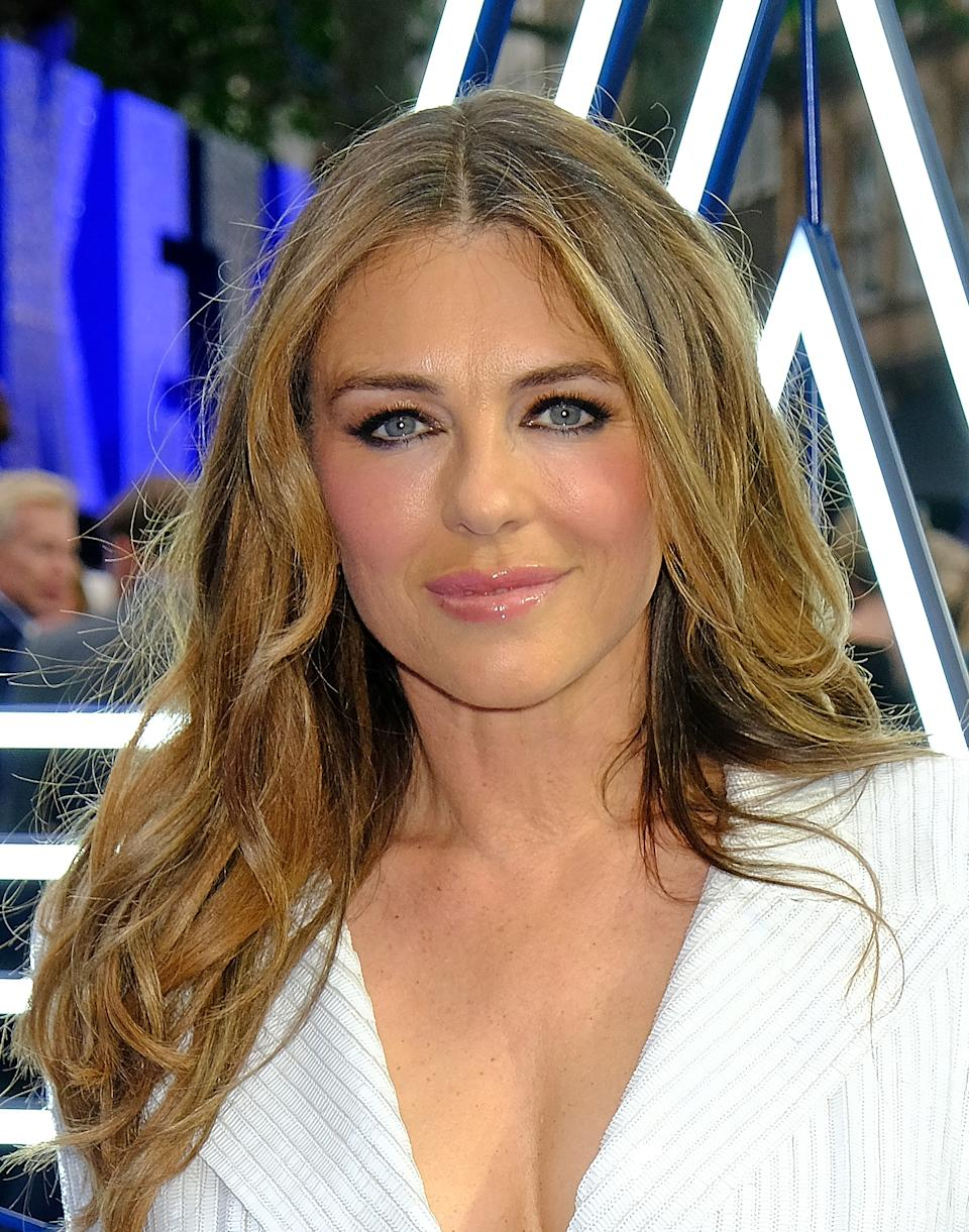 """LONDON, ENGLAND - MAY 20:  Elizabeth Hurley attends the UK Premiere of """"Rocketman"""" at Odeon Luxe Leicester Square on May 20, 2019 in London, England.  (Photo by David M. Benett/Dave Benett/WireImage)"""