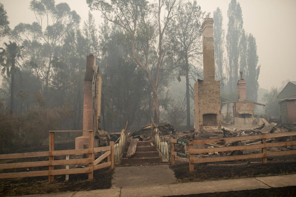 Buildings destroyed by fire are seen in Cobargo, NSW, Wednesday.
