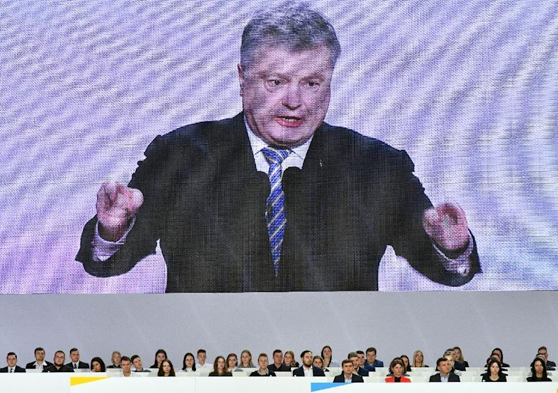 Ukrainian President Petro Poroshenko has promised to recover Crimea from Russia if he is re-elected (AFP Photo/Genya SAVILOV)