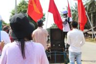 Protest against the military coup, in Launglon township