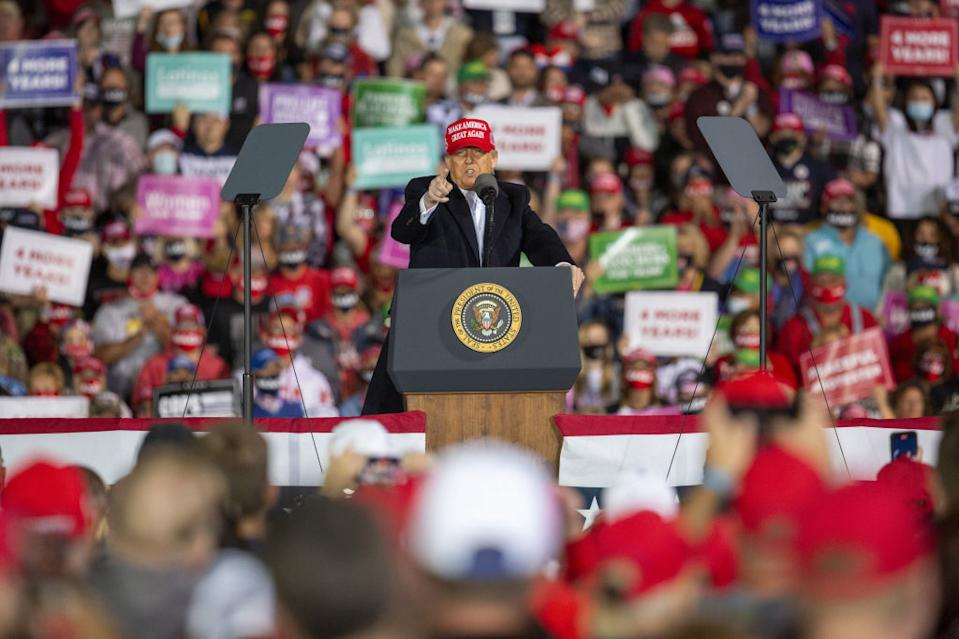US President Donald Trump speaks during a campaign rally in Iowa on Wednesday.