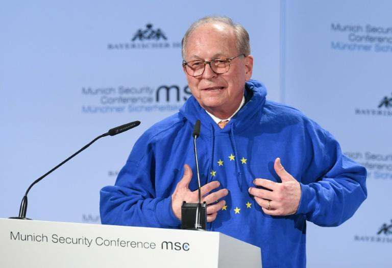 At the Munich Security Conference, the hoodie got more attention than the organiser's dire warnings about the collapse of the post-World War II global order (FILES) In this file photo taken on February 15, 2019 Wolfgang Ischinger, chairman of the Munich Security Conference (MSC), wears a hoodie with the European flag with one missing star while giving a speech to open the 55th Munich Security Conference in Munich, southern Germany. The EUnify hooded sweatshirt from a Berlin-based underground label popular with young people turned into a must-have fashion accessory for many German candidates, right and left, ahead of the May 26, 2019 European elections