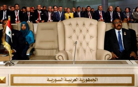 Syria's chair is seen empty during the 30th Arab Summit in Tunis, Tunisia March 31, 2019. REUTERS/Zoubeir Souissi