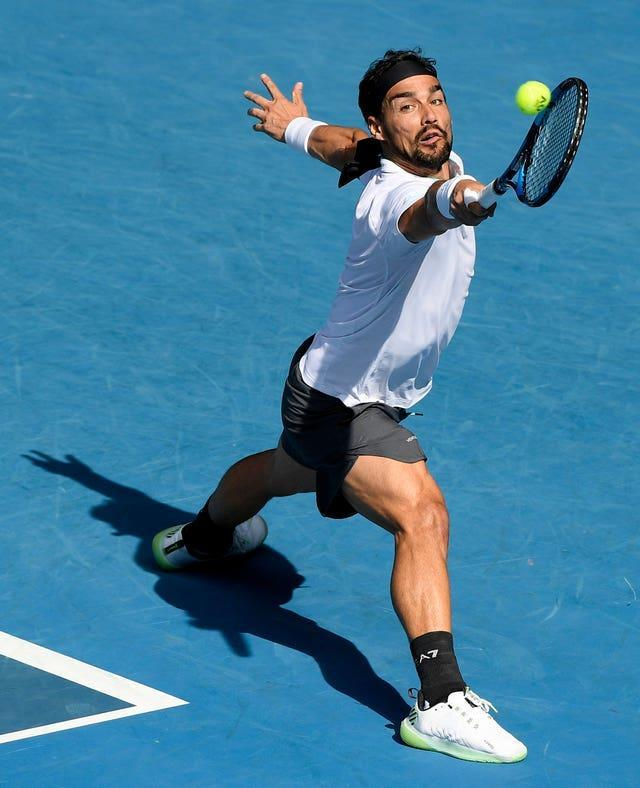 Italy's Fabio Fognini hits a backhand in his defeat by Rafael Nadal