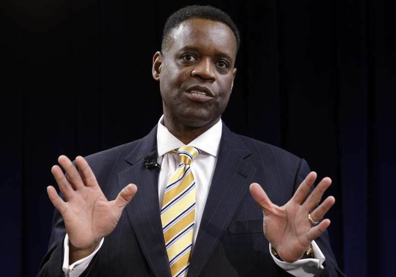 FILE - In this March 14, 2013 file photo, Washington-based attorney Kevyn Orr speaks at a news conference in Detroit.  Orr starts work Monday, March 25, 2013, as Detroit's emergency manager and the turnaround expert says his first tasks will be reviewing the city's financial data and listening. (AP Photo/Paul Sancya, File)