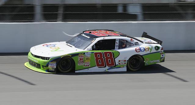 Dale Earnhardt Jr., drives during the NASCAR Nationwide series auto race at Michigan International Speedway in Brooklyn, Mich., Saturday, June 14, 2014. (AP Photo/Carlos Osorio)
