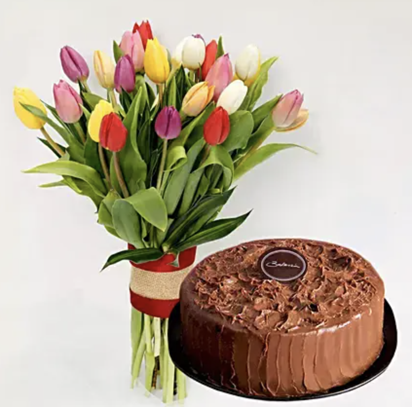 Tulips and chocolate cake. (PHOTO: Ferns N Petals)