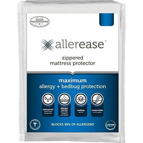 """<p><strong>AllerEase </strong></p><p>amazon.com</p><p><strong>39.99</strong></p><p><a href=""""https://www.amazon.com/dp/B00MZNCKL2?tag=syn-yahoo-20&ascsubtag=%5Bartid%7C10055.g.27396450%5Bsrc%7Cyahoo-us"""" rel=""""nofollow noopener"""" target=""""_blank"""" data-ylk=""""slk:Shop Now"""" class=""""link rapid-noclick-resp"""">Shop Now</a></p><p>Encasement protectors cover the entire mattress with a zipper closure that helps keep it secure. This encasement mattress protector offers great maximum coverage. Not only is it <strong>truly waterproof, but it </strong><strong>protects against bed bugs</strong>,<strong> dust mites, and other allergens</strong>. This hypoallergenic pick encases the mattress entirely with a zipper enclosure for ultimate protection. Plus, this pick can stretch to fit mattresses up to 17"""" deep. <br></p>"""
