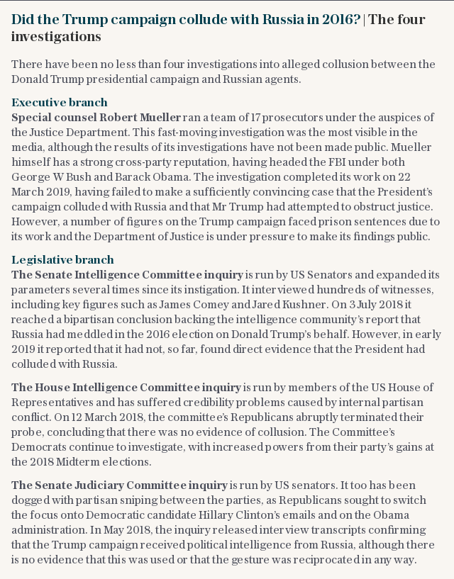 Did the Trump campaign collude with Russia in 2016?   The four investigations