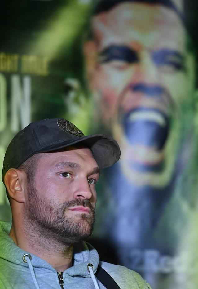 Boxing - Carl Frampton & Tyson Fury Press Conference - Windsor Park, Belfast, Britain - June 18, 2018 Tyson Fury during the press conference REUTERS/Clodagh Kilcoyne