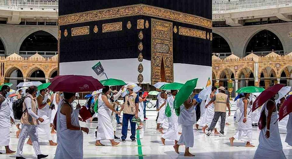 Muslim pilgrims circle the Kaaba at the Grand mosque during the annual Haj pilgrimage amid the Covid-19 pandemic, in the holy city of Mecca, Saudi Arabia July 29, 2020. — Saudi Press Agency handout via Reuters