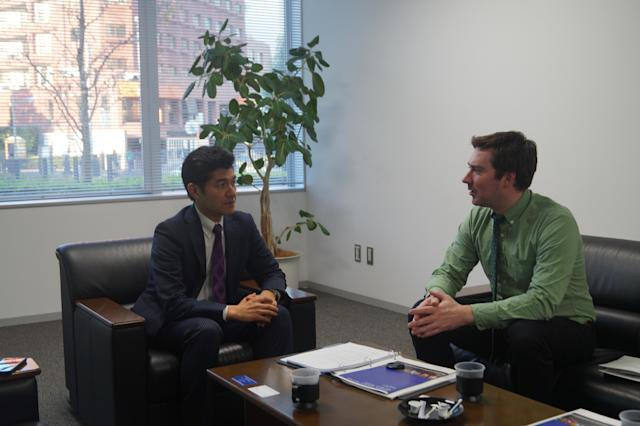 <p>Narushige Michishita, left, specializes in Japanese defense, foreign policy and security issues on the Korean peninsula at the National Graduate Institute for Policy Studies in Minato, Tokyo. Yahoo News journalist Michael Walsh, right, interviews Michishita on campus. (Photo: Michael Walsh/Yahoo News) </p>