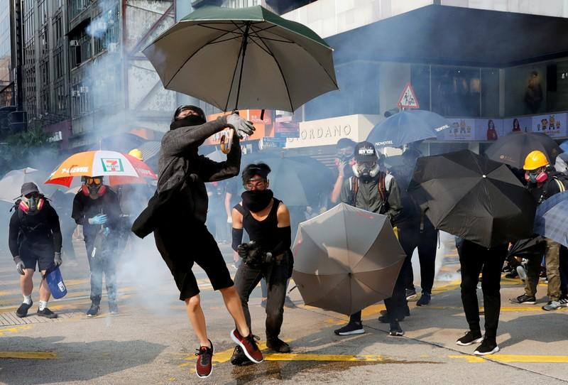 Anti-government demonstrators attend a protest march in Hong Kong