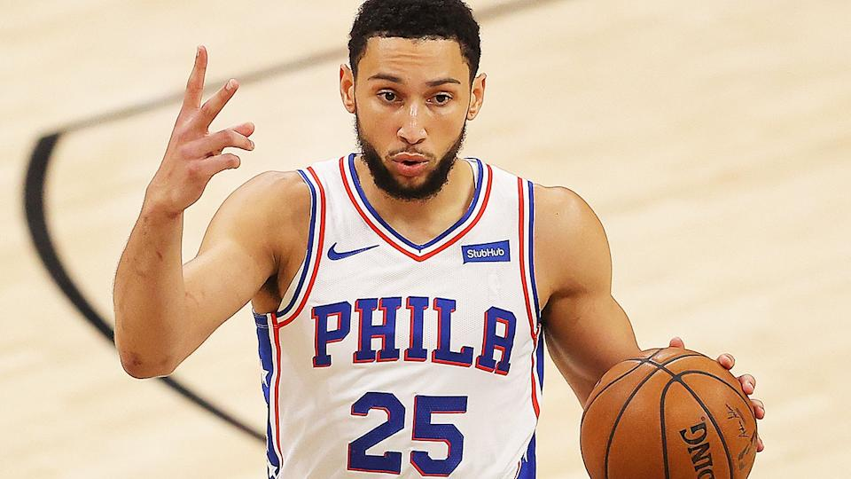 Ben Simmons, pictured here in action for the Philadelphia 76ers against the Atlanta Hawks.