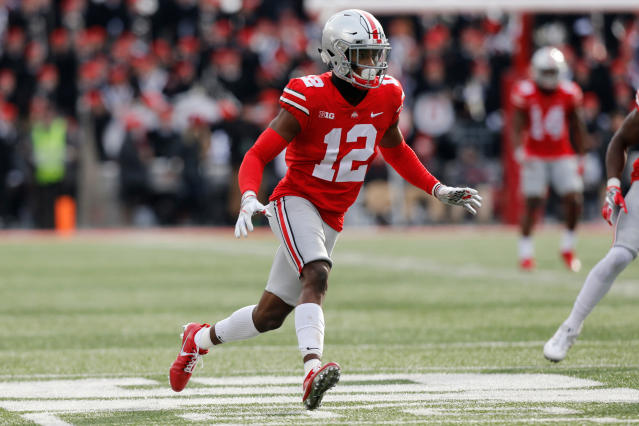 FILE - In this Nov. 11, 2017, file photo, Ohio State cornerback Denzel Ward plays against Michigan State during an NCAA college football game, in Columbus, Ohio. Ward is a posssible first round pick in the NFL Draft.(AP Photo/Jay LaPrete, File)