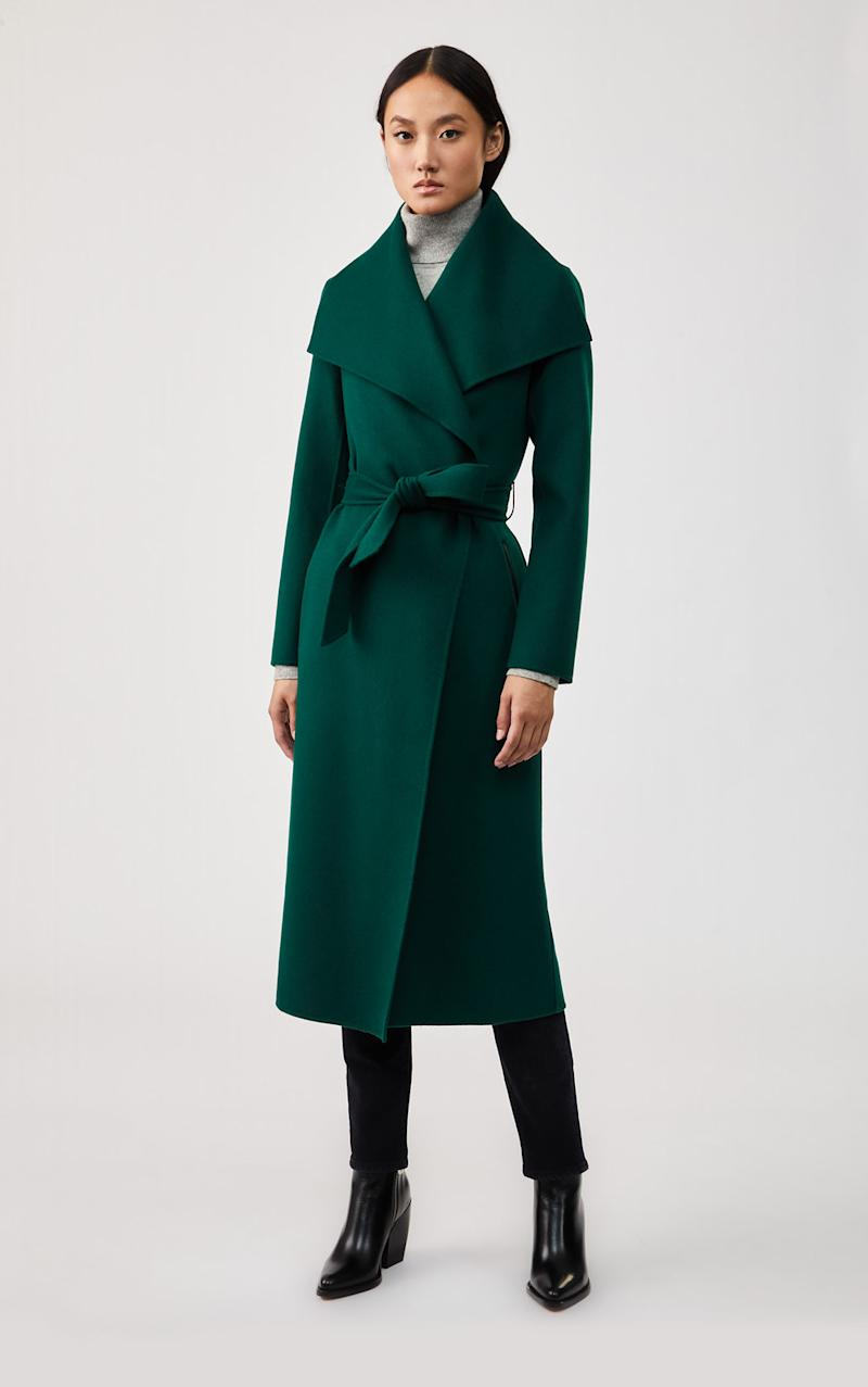 MAI Double-face Wool Coat with Waterfall Collar
