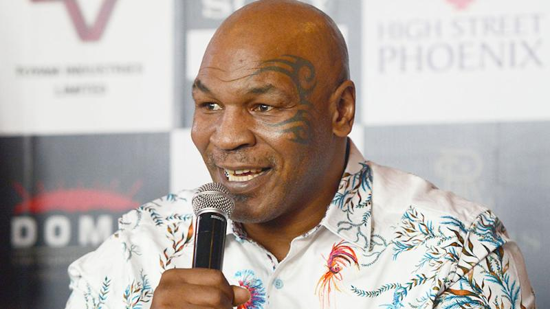 Seen here, Mike Tyson addresses media at a press conference.