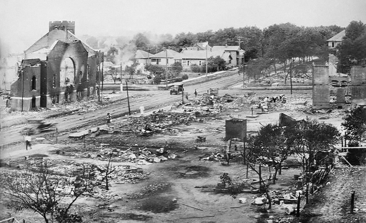 Part of Greenwood District burned in Race Riots, Tulsa, Oklahoma in June 1921. (Universal History Archive via Getty Images)
