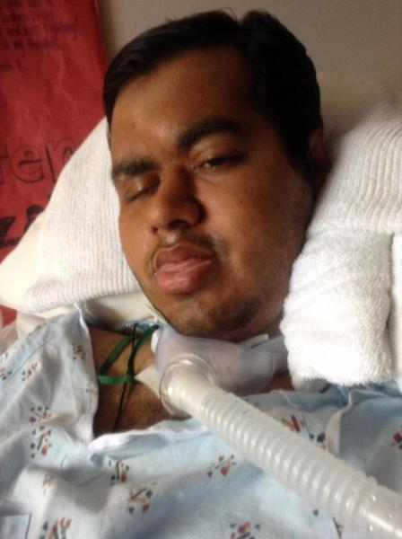 This 2014 file photo provided by Shahraiz Bajwa taken at Essentia Health-St. Mary's Medical Center in Duluth, Minn. shows Muhammad Shahzaib Bajwa, of Pakistan, who has been comatose since being injured in a November crash while spending a semester in an exchange program at the University of Wisconsin-Superior. Diplomats have worked out arrangements to let a Pakistani student who's been hospitalized in a coma since a car crash in November stay in the U.S. for continued medical care, his brother, Shahraiz Bajwa, said Wednesday, Feb. 19, 2014. Bajwa's family said last week that officials were pressuring them to agree to his return to Pakistan because his visa was about to expire at the end of this month. (AP Photo/Courtesy Shahraiz Bajwa)