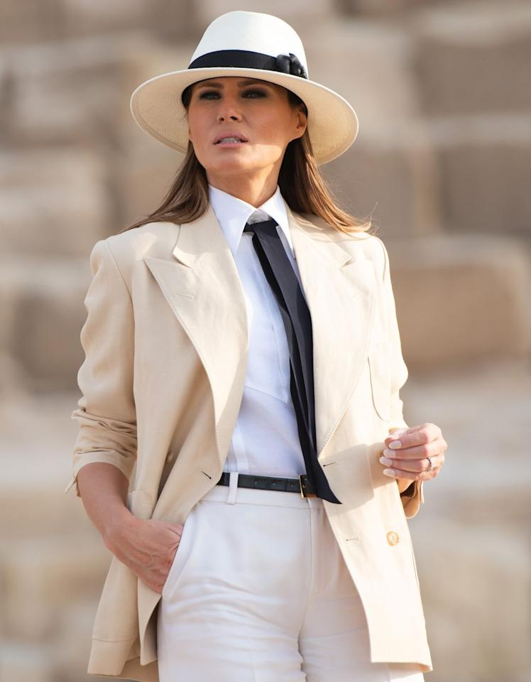 <p>Melania chose a cream-colored menswear-inspired look for her visit to the  Giza Pyramids.</p>