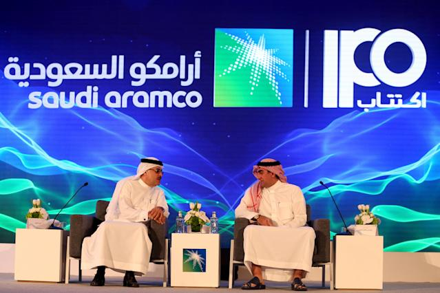 Aramco CEO and president Amin H Nasser, and chairman Yasser al-Rumayyan at the Plaza Conference Center in Dhahran, Saudi Arabia. Photo: Hamad I Mohammed/Reuters