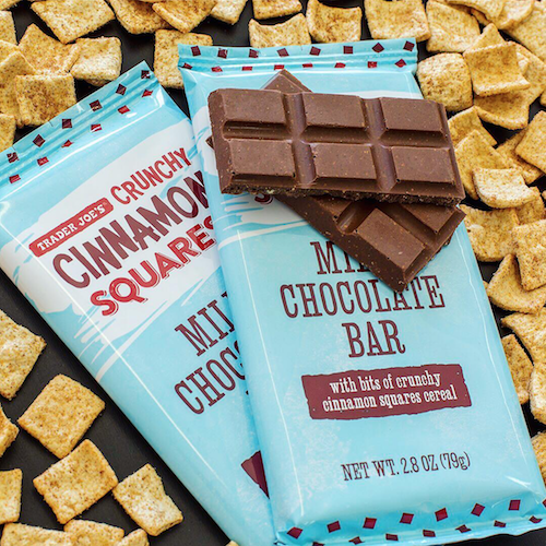 """<p>A chocolate bar that tastes like Cinnamon Toast Crunch cereal? Why didn't we think of this first?! The <a href=""""https://www.traderjoes.com/digin/post/crunchy-cinnamon-squares-milk-chocolate-bar"""" rel=""""nofollow noopener"""" target=""""_blank"""" data-ylk=""""slk:Crunchy Cinnamon Squares Milk Chocolate Bar"""" class=""""link rapid-noclick-resp"""">Crunchy Cinnamon Squares Milk Chocolate Bar</a> is only $2, which means we can and <em>will</em> buy an excessive amount of them.</p>"""
