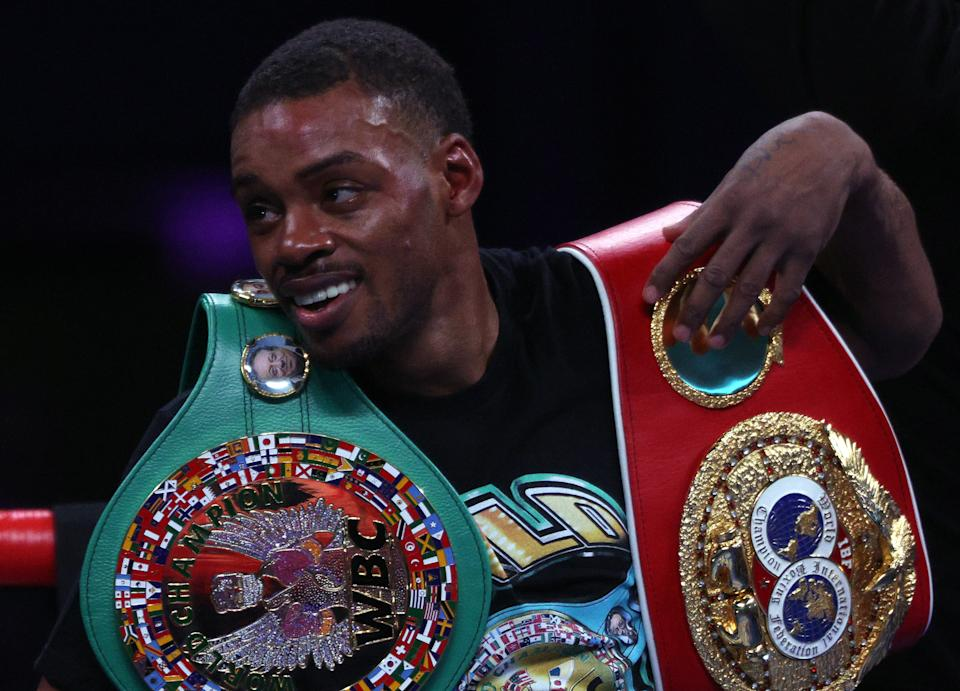 ARLINGTON, TEXAS - DECEMBER 05: (L-R)  Errol Spence Jr. after a unanimous decision against Danny Garcia during their WBC & IBF World Welterweight Championship fight at AT&T Stadium on December 05, 2020 in Arlington, Texas. (Photo by Ronald Martinez/Getty Images)