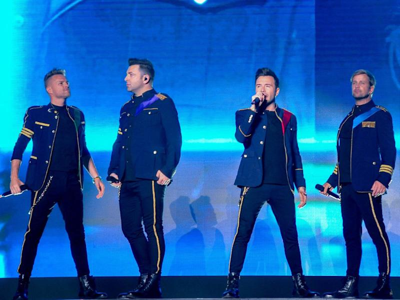 Westlife performing in Malaysia on the opening night of their 2-day show.