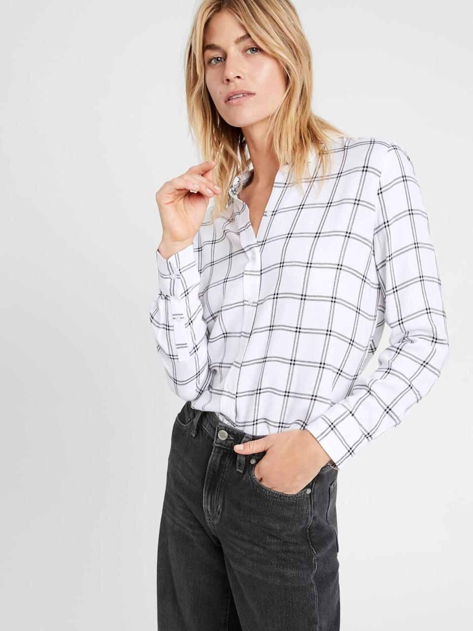 <p>Layer this <span>Banana Republic Dillon Classic-Fit Flannel Shirt</span> ($31-$55, originally $80) under your favorite sweater or blazer, or just wear it solo instead. </p>